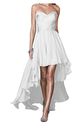 Chiffon Linie Weiß lo Brautjungfernkleider Damen Herzausschnitt Hi Abendkleider Braut Partykleider Rock A La Marie tAwqaaB