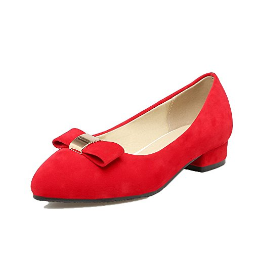 Women's Closed Low Toe Heels Pumps Shoes Pull WeenFashion Red Solid On Frosted Pointed d8Swx1q