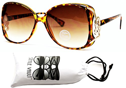 WM518-vp Oversized Butterfly Metal Pieced Sunglasses (N1106D Tortoise/brown, - Nerd Huge Glasses