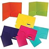 JAM Paper Heavy Duty Plastic 2 Pocket School Presentation Folders (Back To School Deal!) - Assorted Fashion Colors - Pack of 6