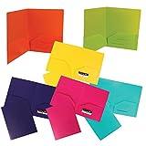 JAM Paper Plastic Heavy Duty 2 Pocket School Presentation Folders - Assorted Fashion Colors - 6/pack