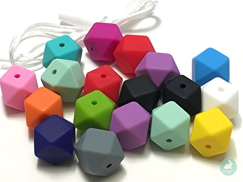 20PC Premium 17mm Hexagon Silicone Loose Bead for Sensory Teethers, Nursing Necklaces, Bracelets and Fashionable Jewelry with Cord & Clasp by Blue Rabbit Co | Chewing Beads