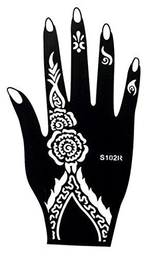 Mehndi Tattoo Stencil mano Mehndi Tatuaggi all'hennè S102R - Usa e getta - Per Tatuaggio all'henné, scintillio tatuaggio e airbrush tatuaggio Tie