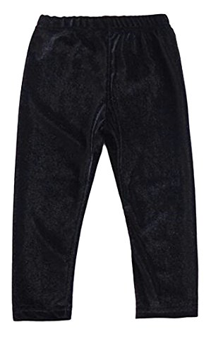uninukoo-baby clothes Unko Baby's Girls Elastic Waist Stretch Skinny Straight Leg Pants Black 2T Best Straight Leg Jeans