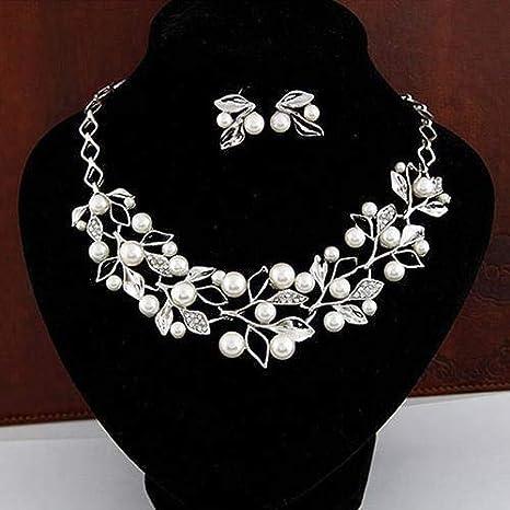 NOLOGO Gxbld-yy Elegante joyería Nupcial de la Perla de imitación de Hojas Gargantilla Pendientes del Collar Plata