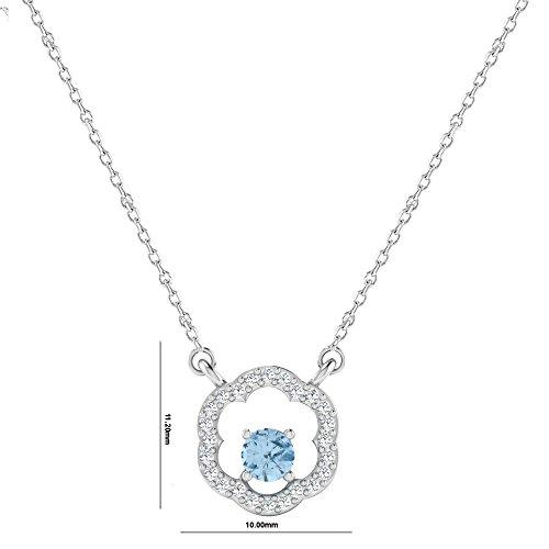 Libertini pendentif argent 925 femme serti de Diamant et Aigue-marine