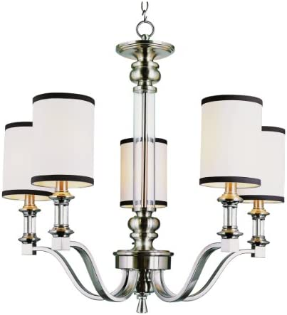 Trans Glob Lighting Trans Globe Imports 7975 BN Transitional Five Light Chandelier from Montclair Collection in Pwt, Nckl, B S, Slvr. Finish, 25.50 inches, Brushed Nickel