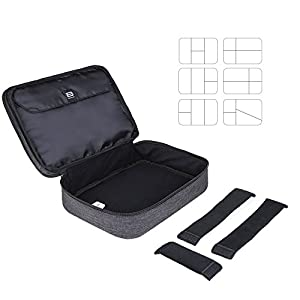"BAGSMART Electronics Accessories Bag Large, Cable Organiser Bag Travel Double Layer for 10.5"" Tablet, Charger, Adaptors…"