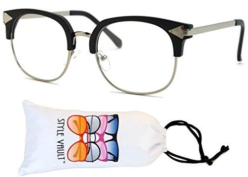 V124-vp Wayfarer Cateye Style Clear Lens Eyeglasses (T2837H Mt.black/silver-clear, - Glasses Mens 50s