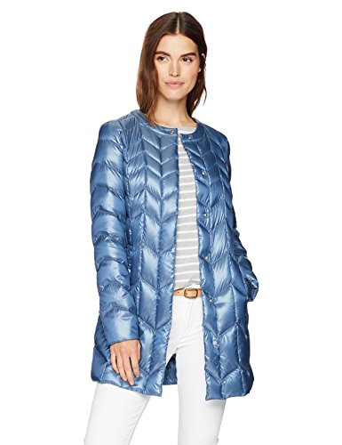Via Spiga Women's Collarless Packable Down Jacket with Chevron Stitch Detail, Denim Blue, Large