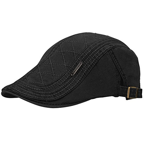 OMECHY Men's Cotton Flat Newsboy Cap Cabbie Ivy Duckbill Irish Cap Gatsby Driving Golf Beret Hat (Cabbie Driver)