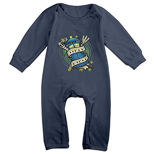 [OLGB Babys Timey Wimey Doctor And Who Long Sleeve Bodysuit 12 Months] (Doctor Love Costume)