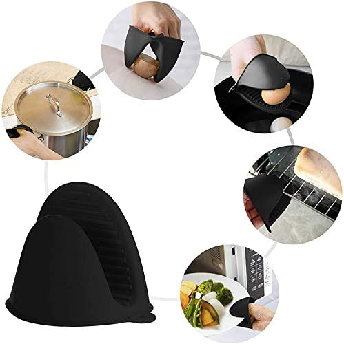 Syfinee Thicken Silicone Oven Mitts Gloves Heat Resistant Non-Slip for Kitchen Cooking Baking Rubber Air Fryer Mitts Mini Pot Pinch Grip for Cooking and Baking