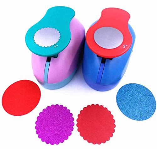 (TECH-P Creative Life Set of 2PCS 2 inch Circle+Wave Circle Craft Punch Set Paper Punch Paper Punch Tool Eva Punches for Making Arts Crafts Projects Cards Scrapbooking Garland Hanging Decorations)