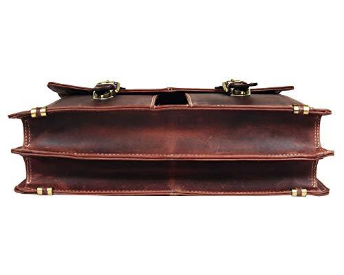16'' Leather Briefcase Messenger Bag for Laptop by Aaron Leather (Walnut) by AARON LEATHER GOODS VENDIMIA ESTILO (Image #3)