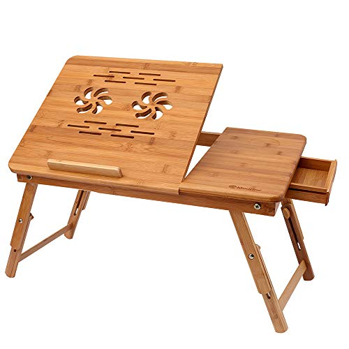 Bamboo Laptop Desk, MODRINE Table Adjustable Portable Foldable Breakfast Serving Bed Tray with Tilting Top Drawer & Pattern Sculpture Heat Dissipation & Cup Holder