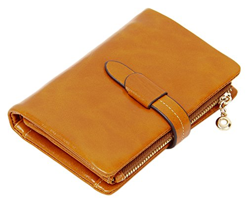 SUIMIUS Ladies Mini Genuine Leather Trifold Wallet Camel