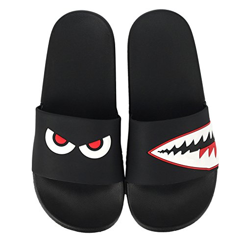 Personality Bottom Female with Couples Stay Soft Cool Slip Slippers Lovely fankou Geek Indoor and Bathroom Shark Red Summer Anti 37 Black x0qwInSzO