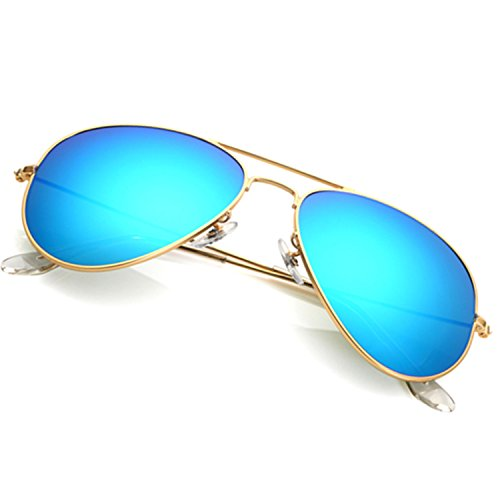 Aviator Sunglasses for Men Women,Flash Mirror Lens UV400 Sunglasses Eyewear with Sun Glasses Case (Blue/Gold Frame, - Sunglases Aviator