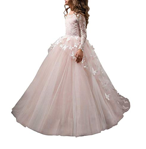 Carat Lace Lovely First Communion Girl Prom Long Sleeves Dresses Pink Size 6 for $<!--$69.00-->