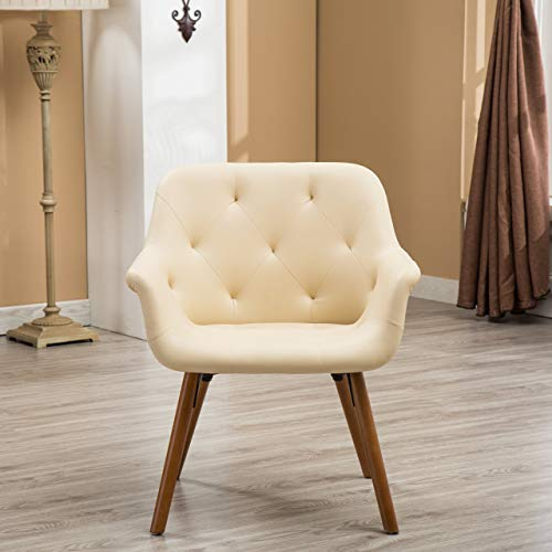 Roundhill Furniture AC122IV Vauclucy Contemporary Faux Leather Diamond Tufted Accent Chair, Ivory