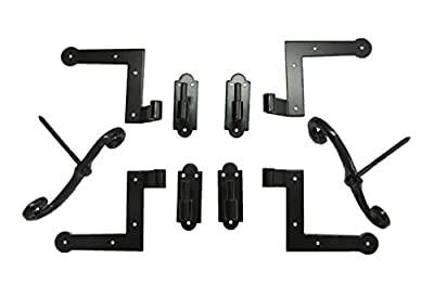 New York Style Shutter Hinge (4) Hardware Set Brick Mount with S/Dogs (2)