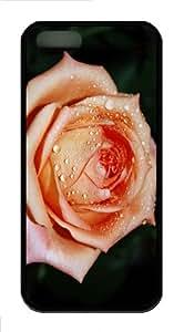 iPhone 5S Customized Unique Orange Rose Flower New Fashion TPU Black iPhone 5/5S Cases - Scenery Flowers