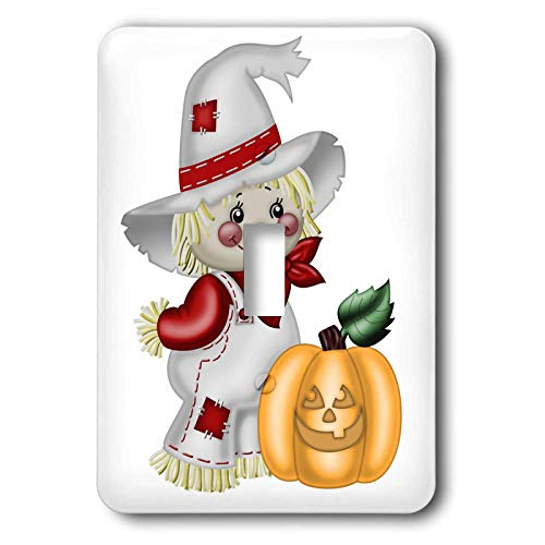 - 3dRose Anne Marie Baugh - Illustrations - Cute Smiling Scarecrow With A Pumpkin Illustration - 2 plug outlet cover (lsp_317966_6)