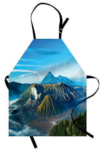 Lunarable Volcano Apron, Mount Bromo Volcano During Sunrise in East Java Indonesia Majestic Nature, Unisex Kitchen Bib Apron with Adjustable Neck for Cooking Baking Gardening, Sky Blue Green White by Lunarable