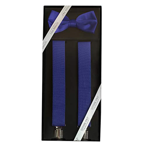 Luther Pike Formal Dress Mens Prom or Dance Bow Tie & Tuxedo Navy Blue Suspenders For Men Gift Box
