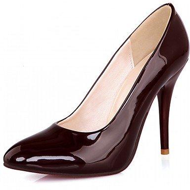 Talones de las mujeres de cuero Primavera Otoño Comfort oficina y carrera del vestido ocasional de tacón de aguja Negro Blanco Almendra Borgoña Burgundy