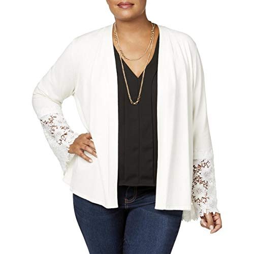 Charter Club Womens Plus Lace-Cuff Drape Cardigan Sweater White 1X ()