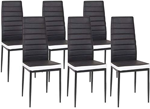 KOSMI Set di 6 sedie di design nere rivestite in ecopelle