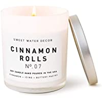 Sweet Water Decor Cinnamon Roll Scented Soy Wax Fall Candle for Home | 11oz White Glass Jar, 50 Hour Burn Time, Made in the USA