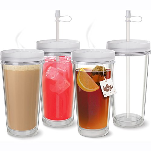 - Clear Thermal Tumbler with Lid & Straw - Set of 4 - Double Wall Insulated- USA Made Acrylic - 16 oz.