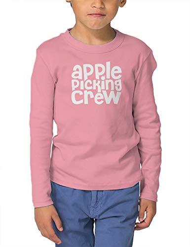 Apple Picking Crew - Orchard Autumn Long Sleeve Toddler Cotton Jersey Shirt (Light Pink, 4T) ()