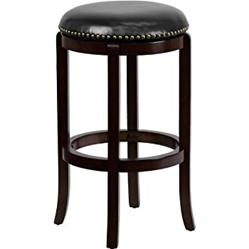 Flash Furniture 29u0027u0027 High Backless Cappuccino Wood Barstool with Black Leather Swivel Seat  sc 1 st  Amazon.com & Amazon.com: Flash Furniture 24u0027u0027 High Backless Cappuccino Wood ... islam-shia.org