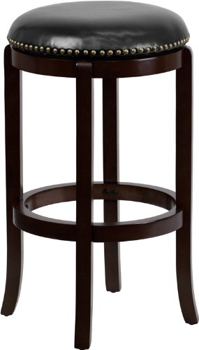 Stool Cappuccino Bar Finish (Flash Furniture 29'' High Backless Cappuccino Wood Barstool with Black Leather Swivel Seat)