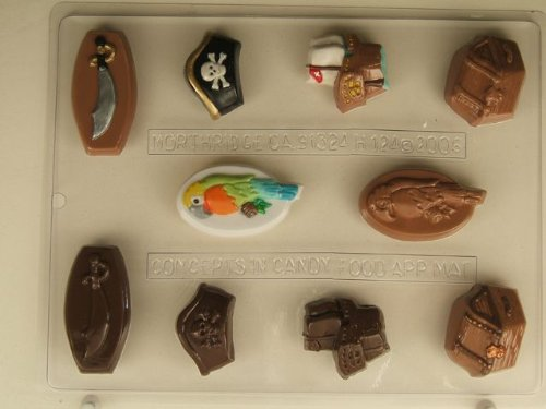 Pirate related small pieces: chest, sword, parrot, ship, hat H124 Halloween Chocolate Candy Mold