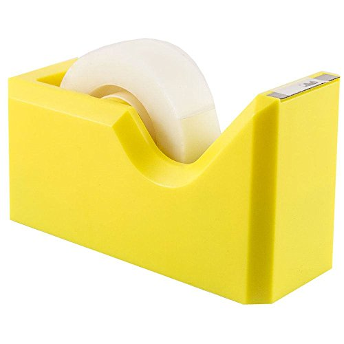 "JAM Paper Colorful Tape Dispensers - 4 1/2"" x 2 1/2"" x 1 3/4"" - Yellow Tape Dispenser - Sold Individually"