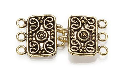 Jewelry Designer SI-17754 3HOLE ANT Gold Horseshoe Latch 1 Set