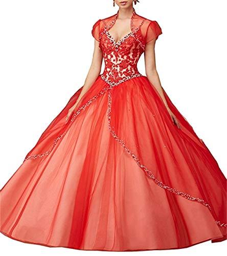 De Bola Quinceanera Sweet Dresses Con Cuentas Encaje Deep Cuello Correas Espagueti Rojo Sexy Mujeres Crystal Vestidos V Anjuruisi 16 PwYg8g