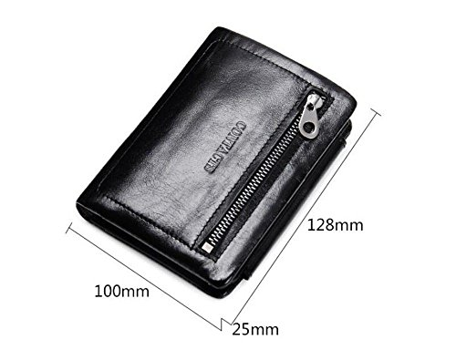 leather zipper type square short soft LIGYM wallet Men's vertical buckle face qt5wFnW