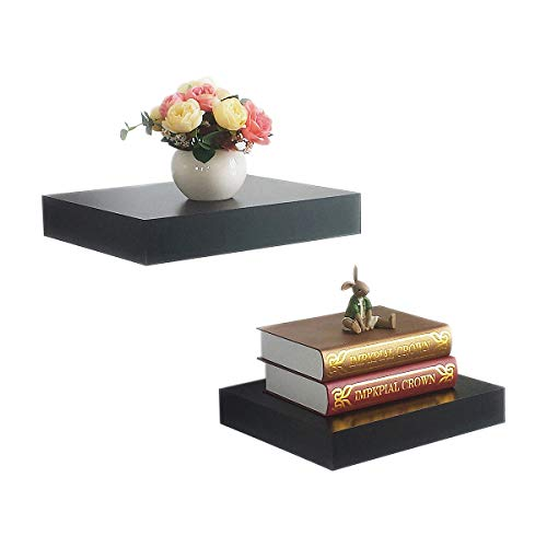 HAO Set of 2,10 Depth Floating Wall Shelves Wooden Shelving for Wall Household Storage Ledge Shelf with Invisible Bracket Approx 12 Inch Black