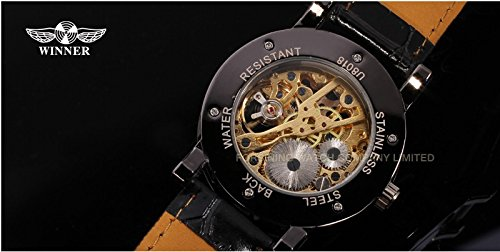 Gute Classic Steampunk Bling Automatic Mechanical Wristwatch See Through Skeleton Automatic Unisex Watch (Gold Black) 7