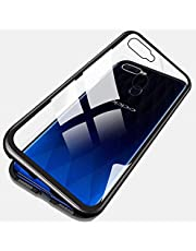 Oppo F9 Case 360 degree full cover 2 pieces metal frame Magnetic tempered glass back case - Black