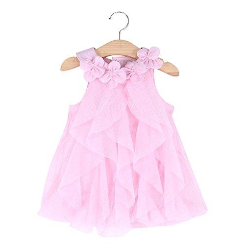 WZSYGDTC Little Girl Birthday Dresses Rompers Summer Chiffon Jumpsuit Size 24M 2T (Pink,24M)