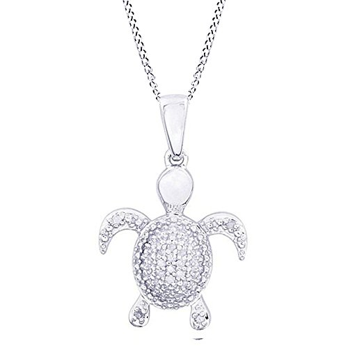 Jewel Zone US Natural Diamond Turtle Pendant Necklace in 14K White Gold Over Sterling Silver