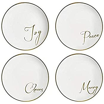 American Atelier Sentiment Plates (Set of 4), White/Gold