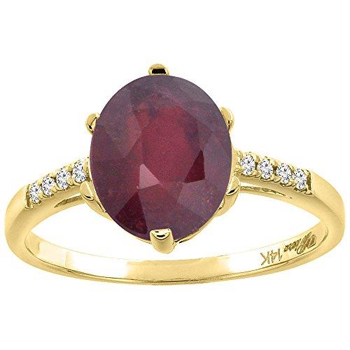 14K Yellow Gold Enhanced Genuine Ruby & Diamond Ring Oval 10x8 mm, size - Diamond Ruby & Genuine